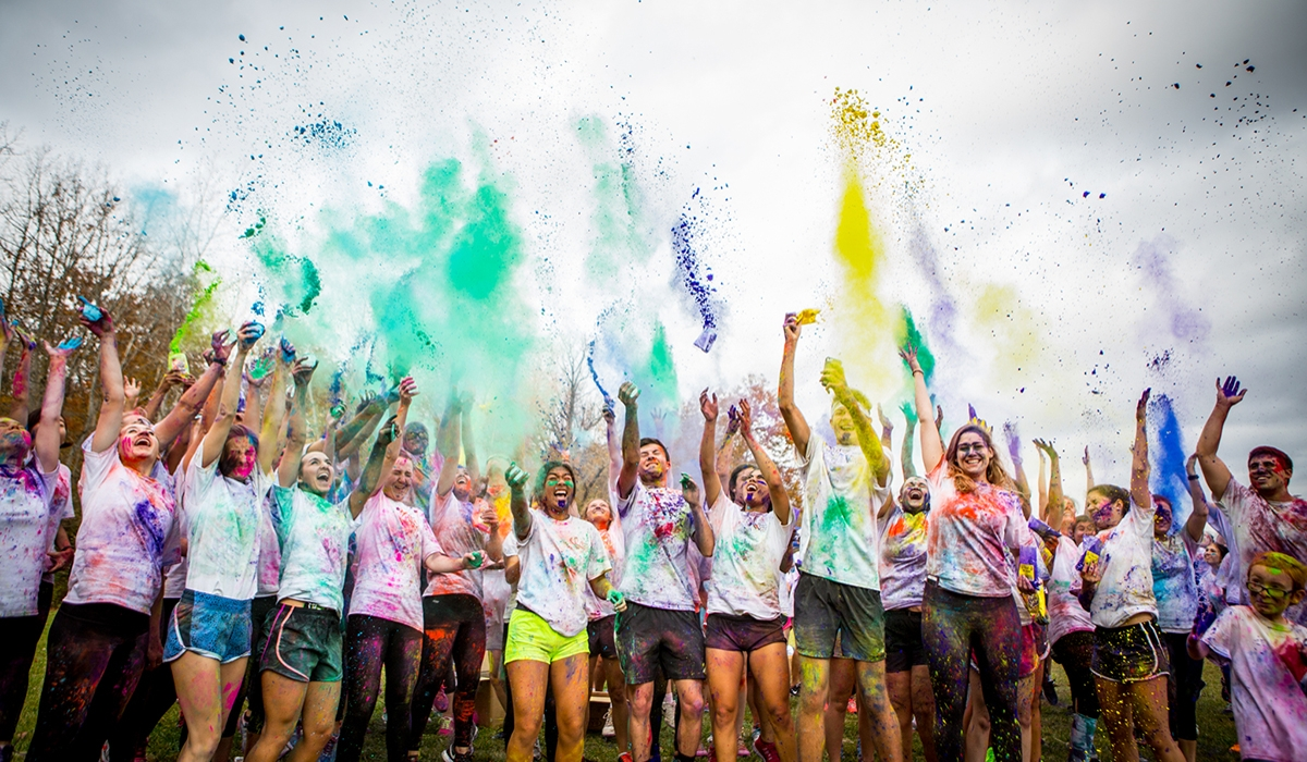 students at a color run