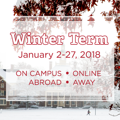 Winter Term. January 2-21, 2017. On campus, online, abroad, away. Photo of snowy central quad and MacCracken