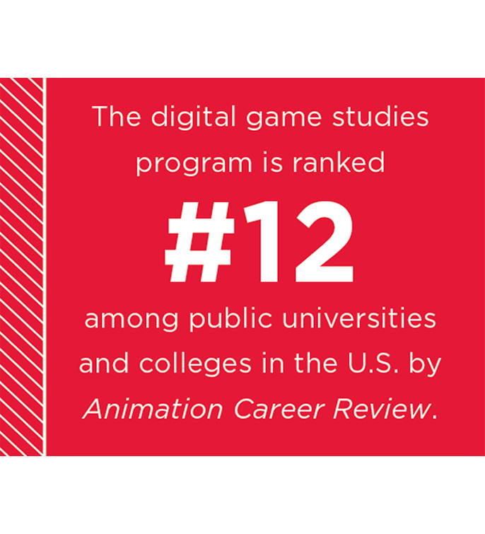 The digital game studies program is ranked #12 among public universities and colleges in the US by Animation Career Review.