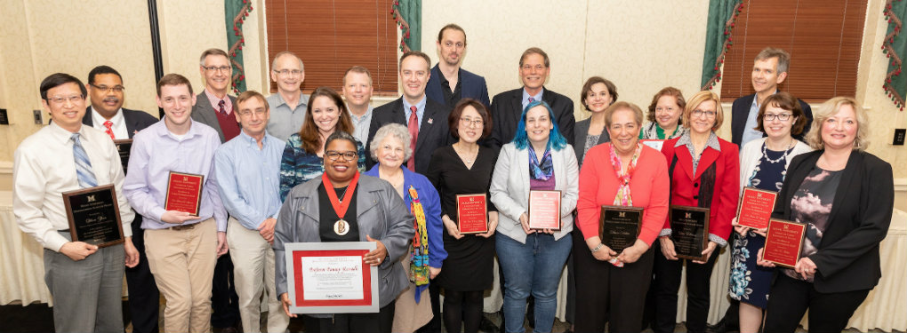 The University Awards recipients honored at a reception in April 2018.