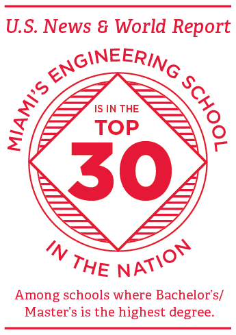 US News and World Report Miami's engineering program is in the top 35 in the nation among schools where bachelor's / master's is the highest degree