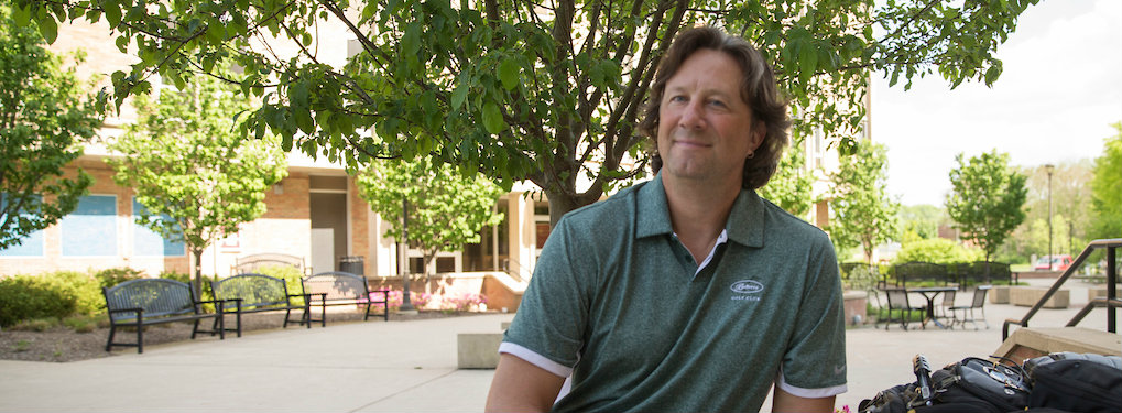 Professor Dave Sobecki enjoys time on the plaza at Miami Hamilton