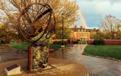 Sundial in foreground, surrounded by wet pavement. A rainbow appears over a building in the background.