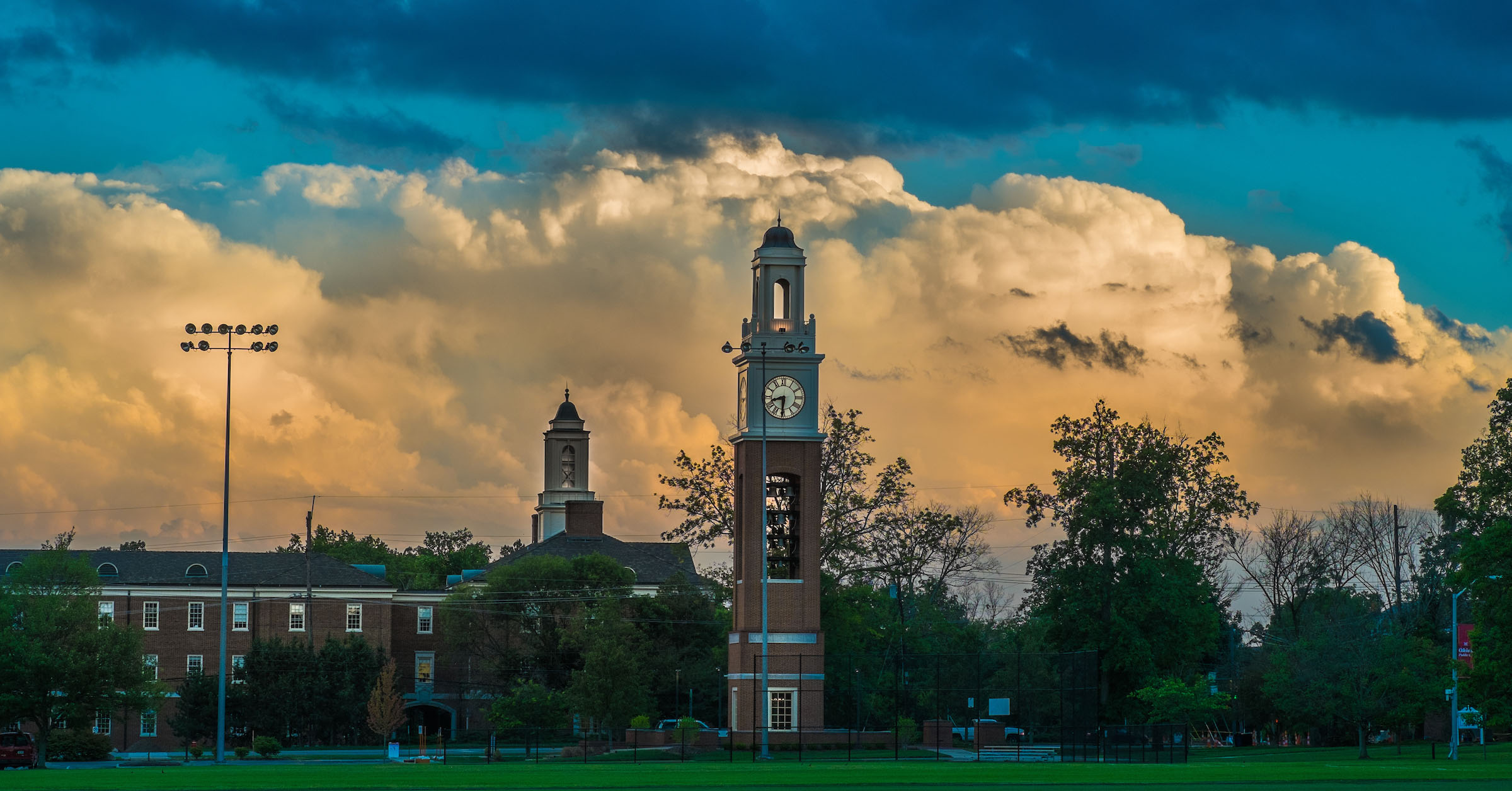 Cook Field with carillon at sunset during summer