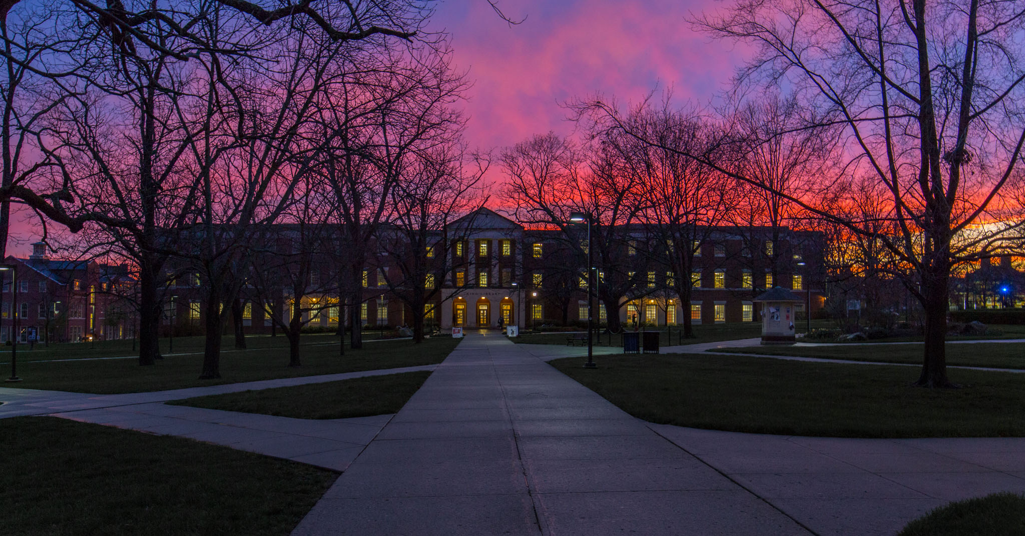 King Library at sunset