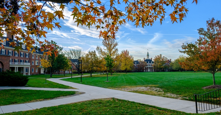 Distant view of McCracken Hall in autumn
