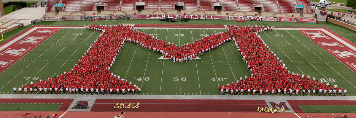 Students in Block M formation at Yager Stadium