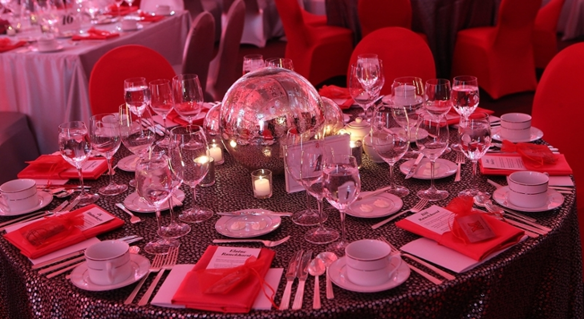 The place setting for a table during a gala at the Armstrong Student Center.