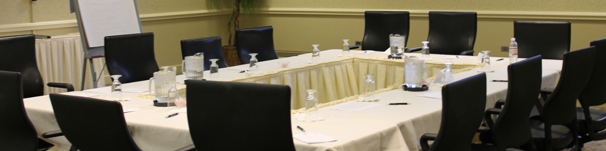 Meeting setup at the Marcum Hotel and Conference Center.