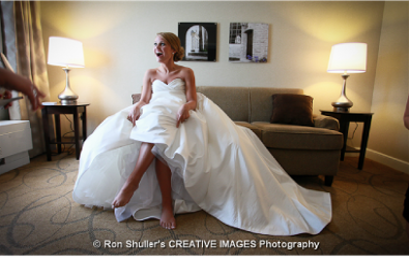 A bride shows off her pedicure.