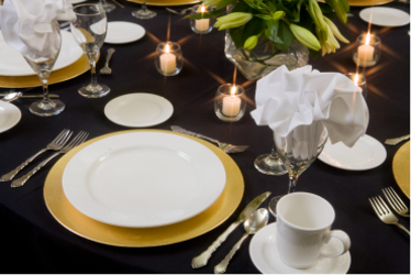 A table set for a wedding.