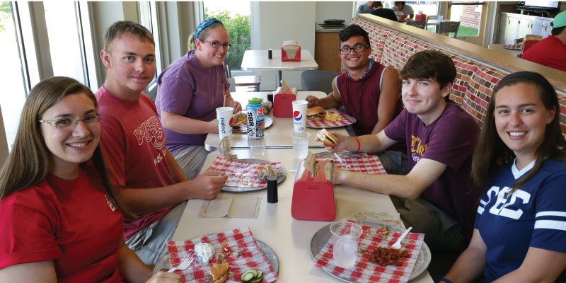 Students enjoying the Miami University dining experience.