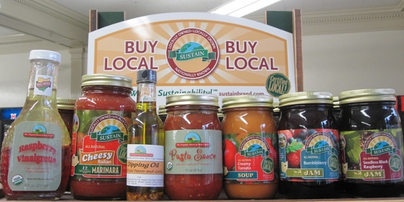 A selection of local food products in the Market Street at MacCracken store.