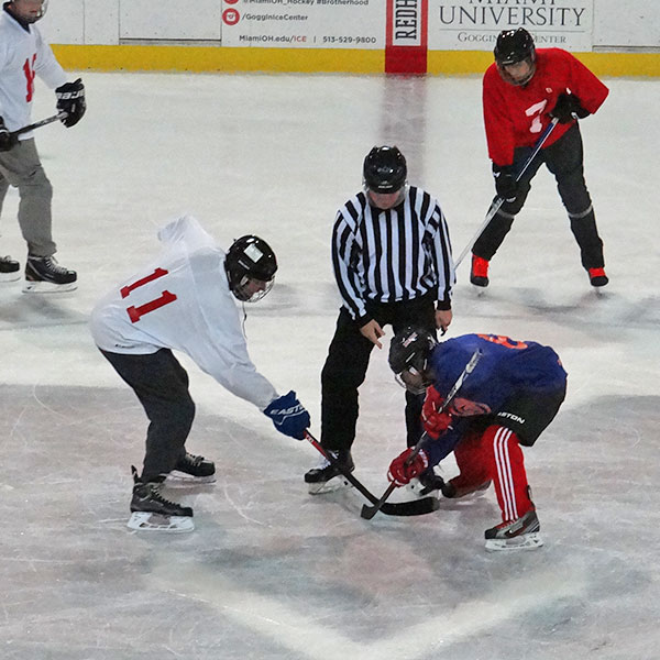 Face off during a intramural hockey game
