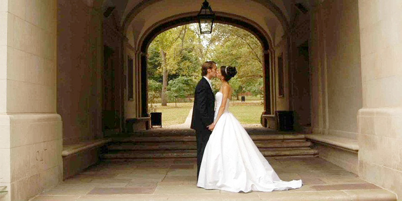Newlyweds under Upham Arch