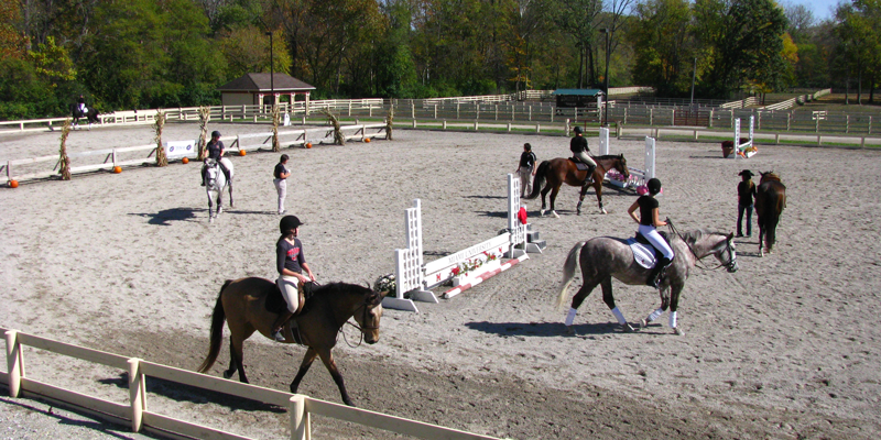 Equestrian team practicing at the equestrian outdoor arena.