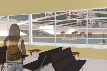 Rendering of the viewing area of the proposed indoor riding arena.