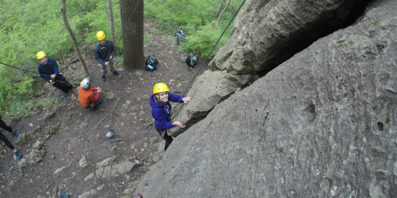 Group rock climbing in the great outdoors