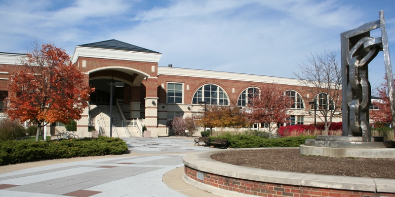 Exterior of the Rec Center on a fall day