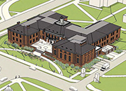 aerial drawing of renovated Shideler Hall