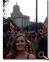 enlarged photo of Sara Giska at Catalunya, Spain, independence celebration