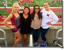 enlarged photo of Ellen Florek with friends at football game