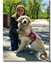 enlarged photo of Sammi Marshall with service dog