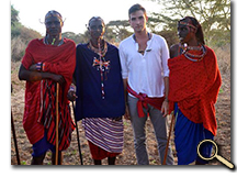 enlarged photo of Matthew Meeks with Maasai friends