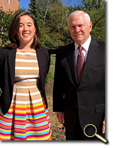 enlarged photo of Morgan Nguyen and Dr. Robert Gates