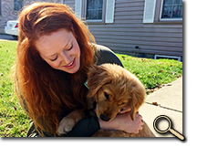 enlarged photo of Rachel Serafin and puppy