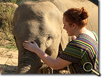 enlarged photo of Rachel Serafin and elephant