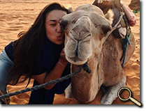 enlarged photo of Sydney Chuen and camel