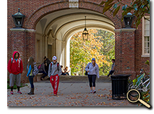 enlarged photo of students and Upham Hall arch