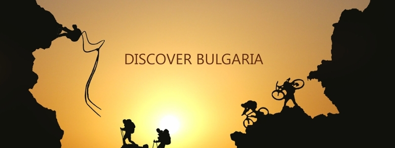 Logo featuring climbers on the outline of Bulgaria.