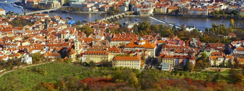 Red buildings in Czech Republic.