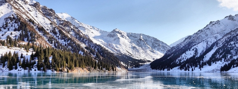 Icy mountains in Kazakhstan.