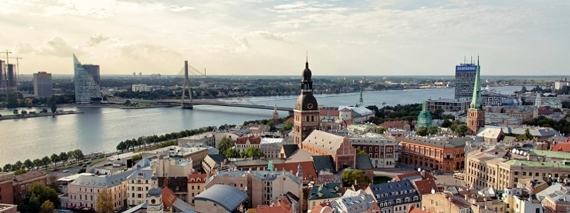 A Latvia town on the river.