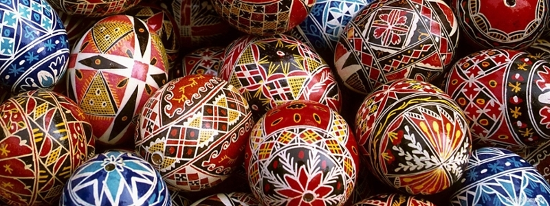 Decorated eggs with patterns.
