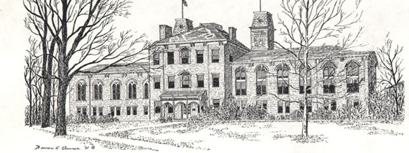Drawing of Harrison Hall.