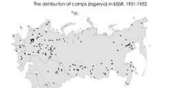 A map that shows the location of Gulag camps.