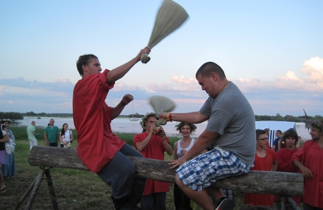 Students playing traditional game at festival