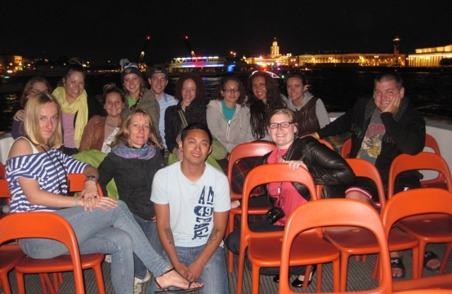 Students on river cruise