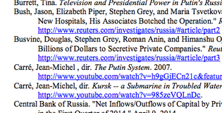 Screenshot of Putin's Kleptocracy bibliography page.