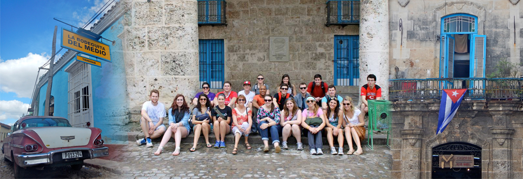 "photo of student and faculty participants in Winter Term 2014 ""Cuba in Transition"" (LAS/ITS 299) course"
