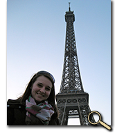 enlarged photo of Erin O'Neal and the Eiffel Tower