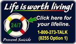 Suicide Prevention Lifeline 1-800-273-TALK (8255 Option 1)