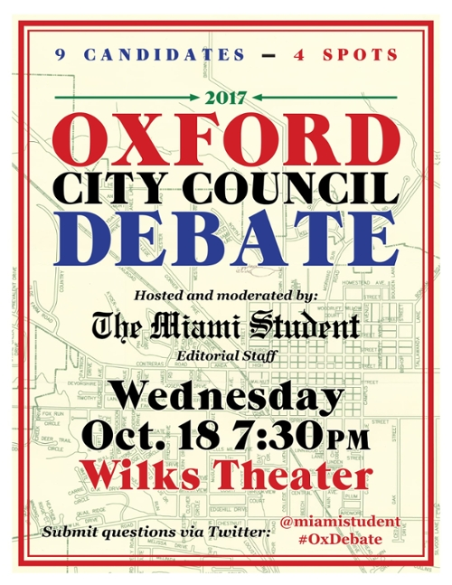 Come to the Oxford City Council Debate at 7:30 in Wilks Theater on October 18