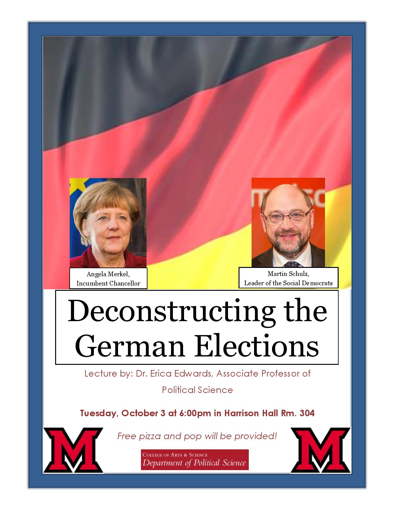 Deconstructing the German Elections, lecture by Dr. Erica Edwards October 3 at 6:00 in Harrison 304