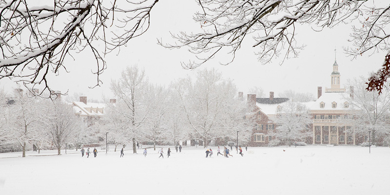 students on campus during in snow