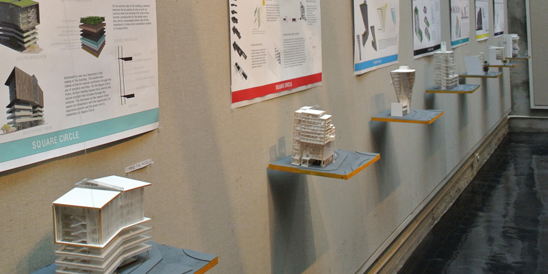 A Cage Gallery exhibit of projects conducted in London, showing models and posters